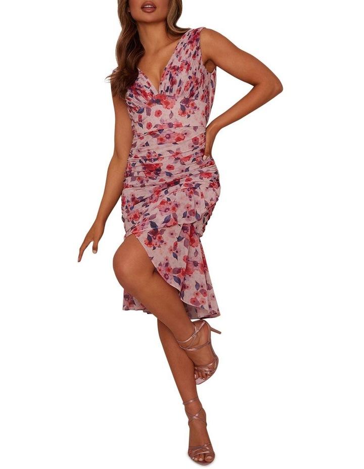 Sleeveless Ruched Floral Print Midi Dress image 1