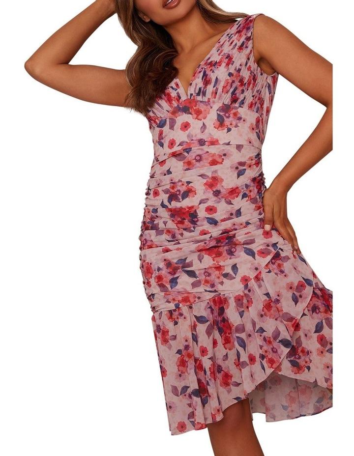Sleeveless Ruched Floral Print Midi Dress image 3