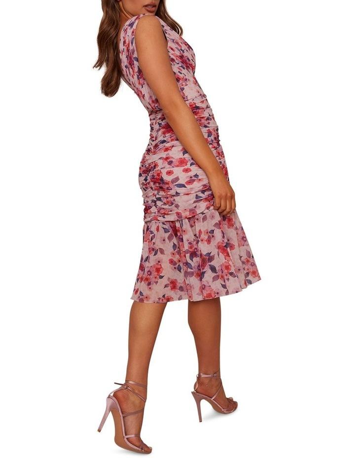 Sleeveless Ruched Floral Print Midi Dress image 4