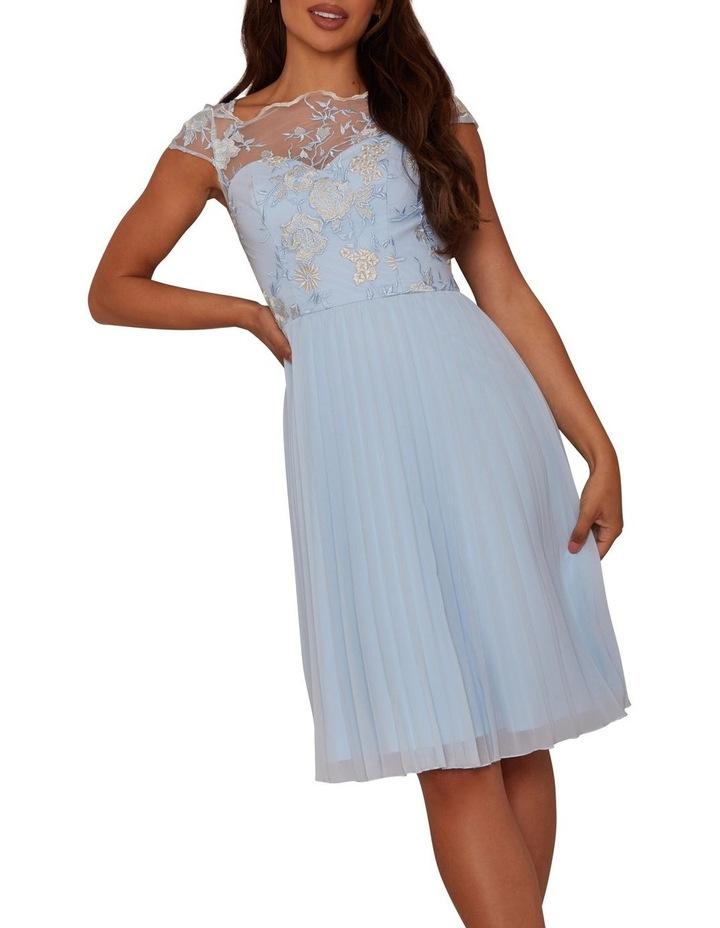Embroidered Pleat Midi Dress image 3