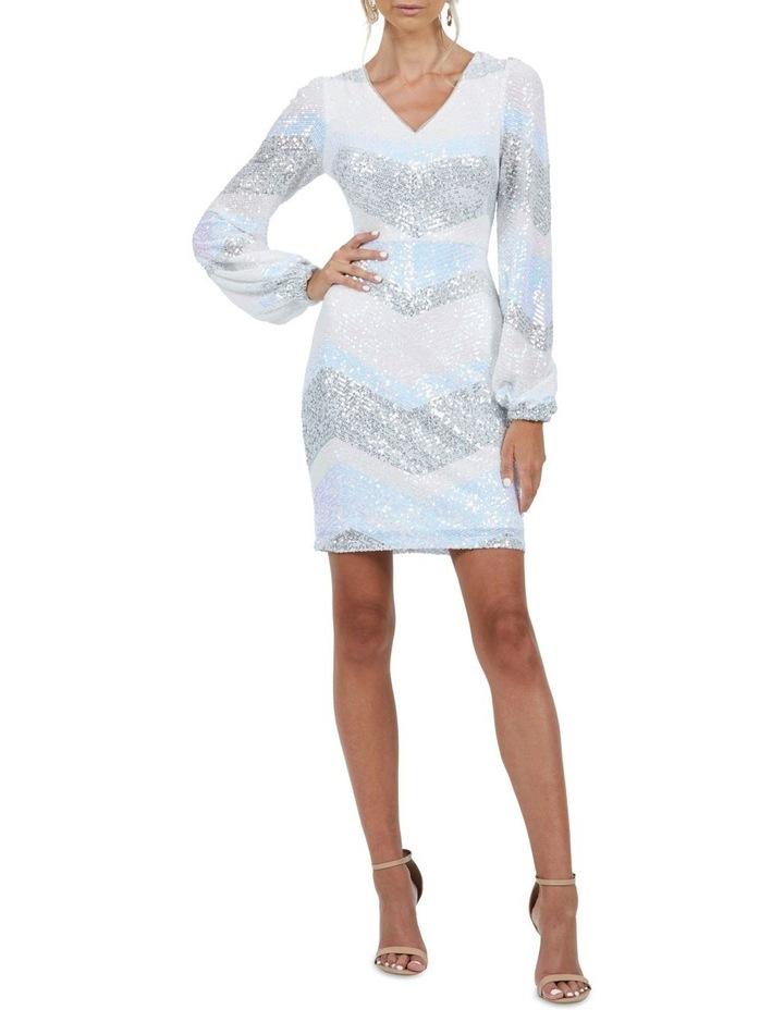Mia Stripe Sequin Bell Sleeve Mini Dress image 1