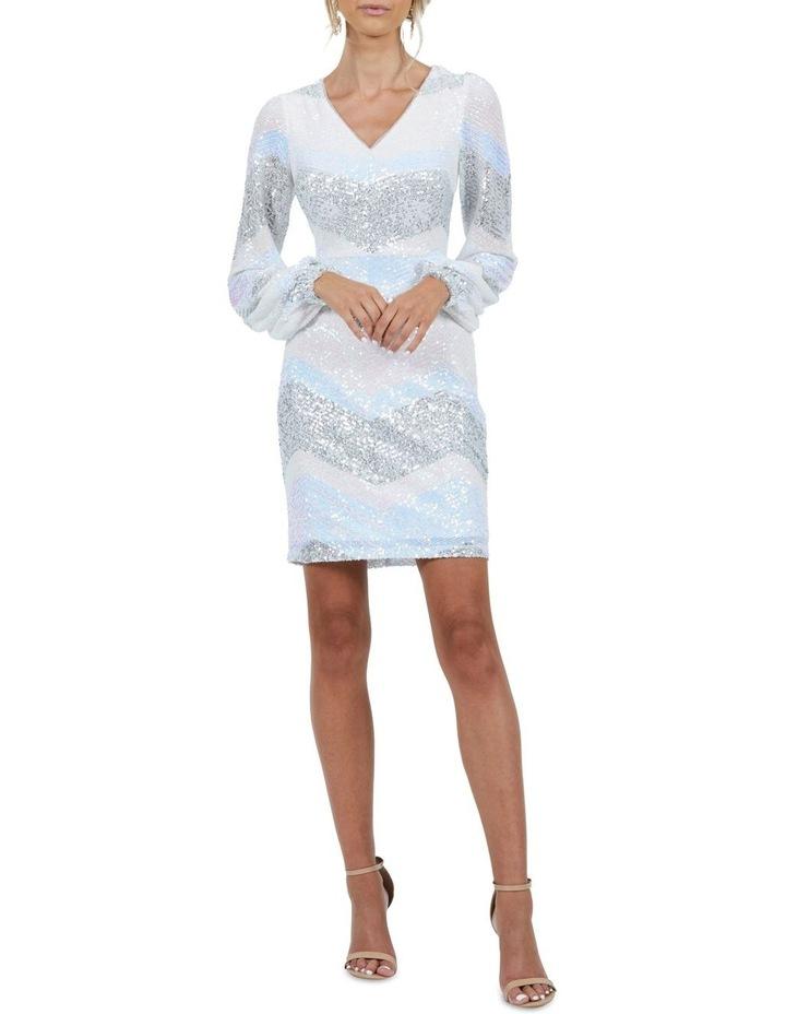 Mia Stripe Sequin Bell Sleeve Mini Dress image 3