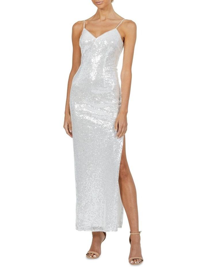 Crystal V Neck Sequin Maxi Dress Silver image 1