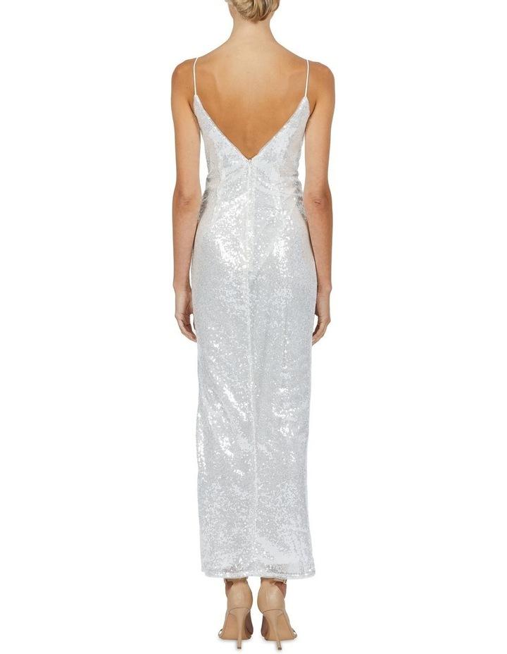 Crystal V Neck Sequin Maxi Dress Silver image 2