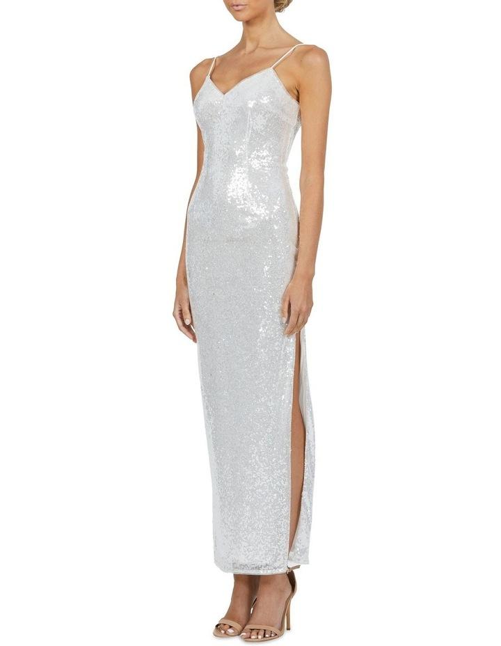 Crystal V Neck Sequin Maxi Dress Silver image 3