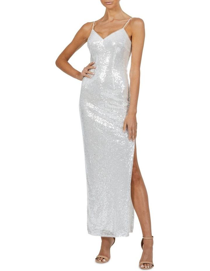 Crystal V Neck Sequin Maxi Dress Silver image 4