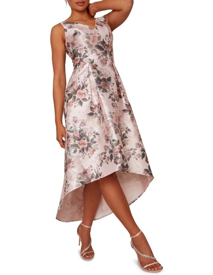 Sleeveless Floral Print Dip Hem Dress Pink image 1