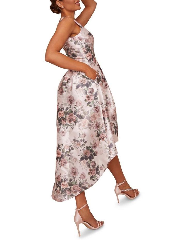 Sleeveless Floral Print Dip Hem Dress Pink image 2