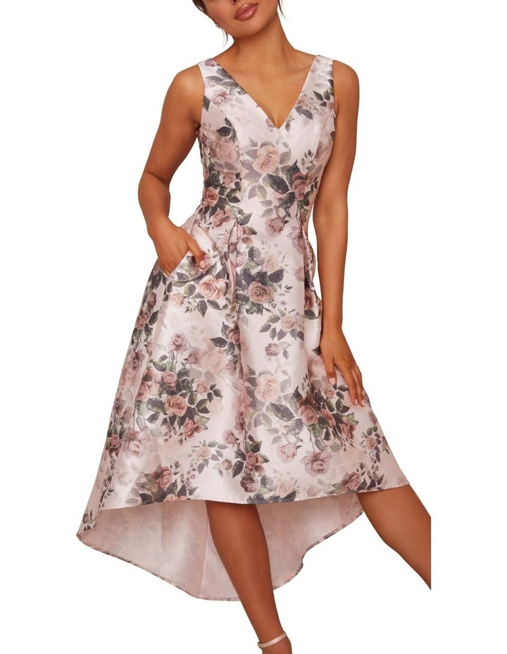 Sleeveless Floral Print Dip Hem Dress Pink image 3