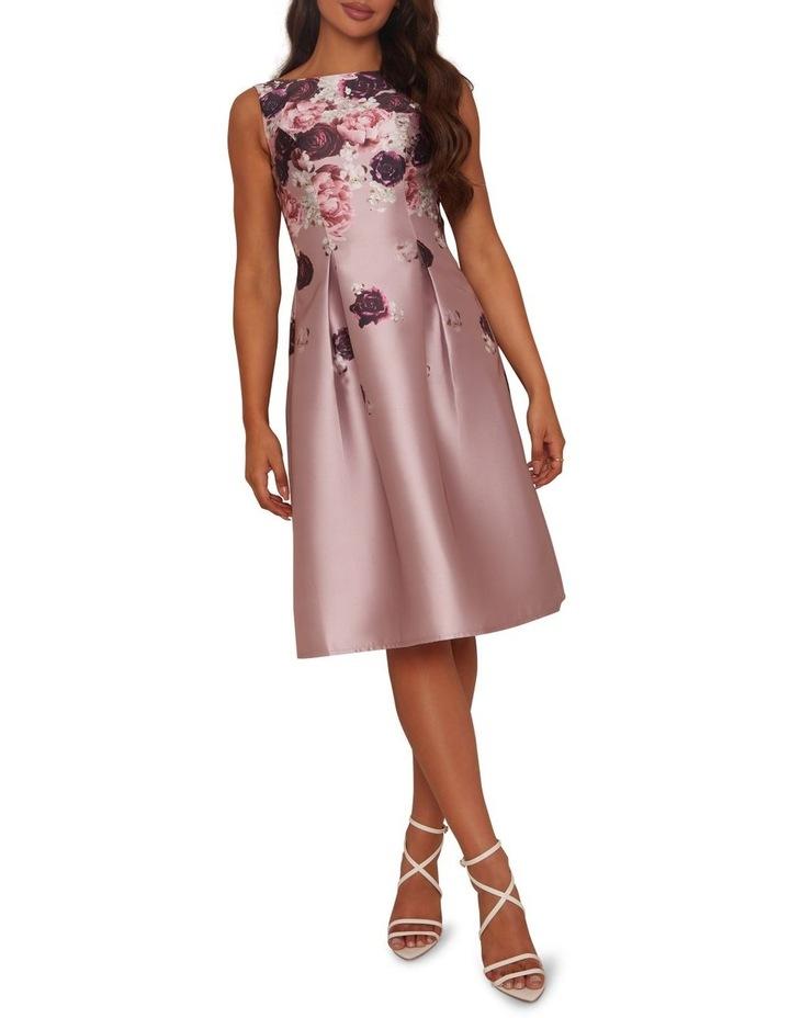 Cascading Floral Printed Midi Dress Mink image 1