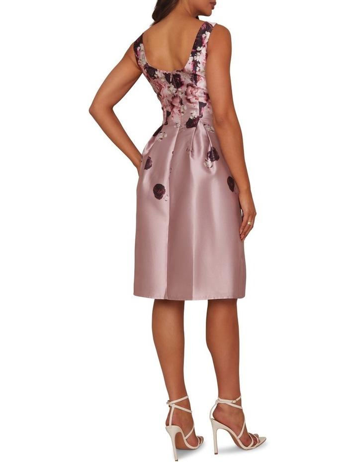 Cascading Floral Printed Midi Dress Mink image 2