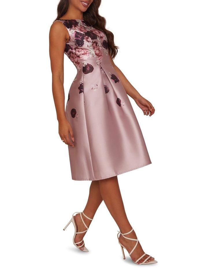 Cascading Floral Printed Midi Dress Mink image 3