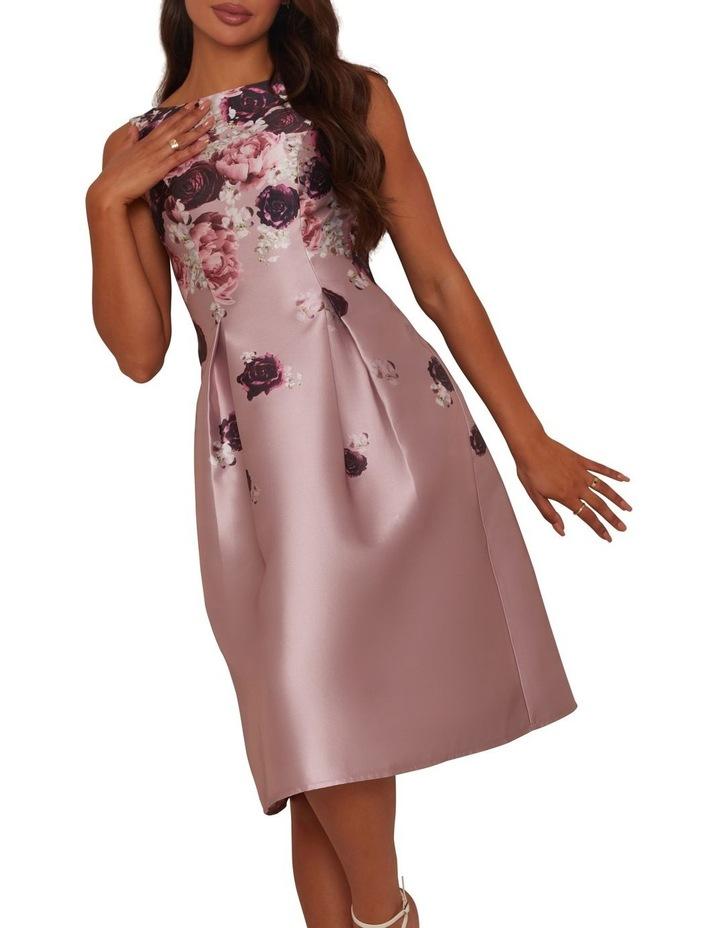 Cascading Floral Printed Midi Dress Mink image 4