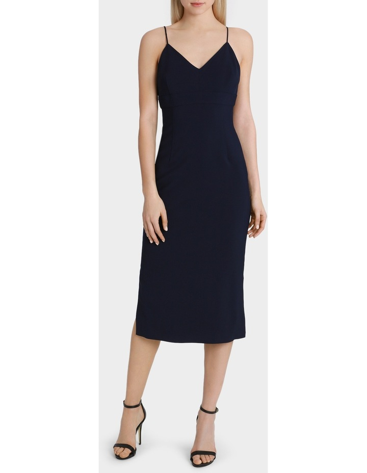 Navy Fitted Midi Dress image 1