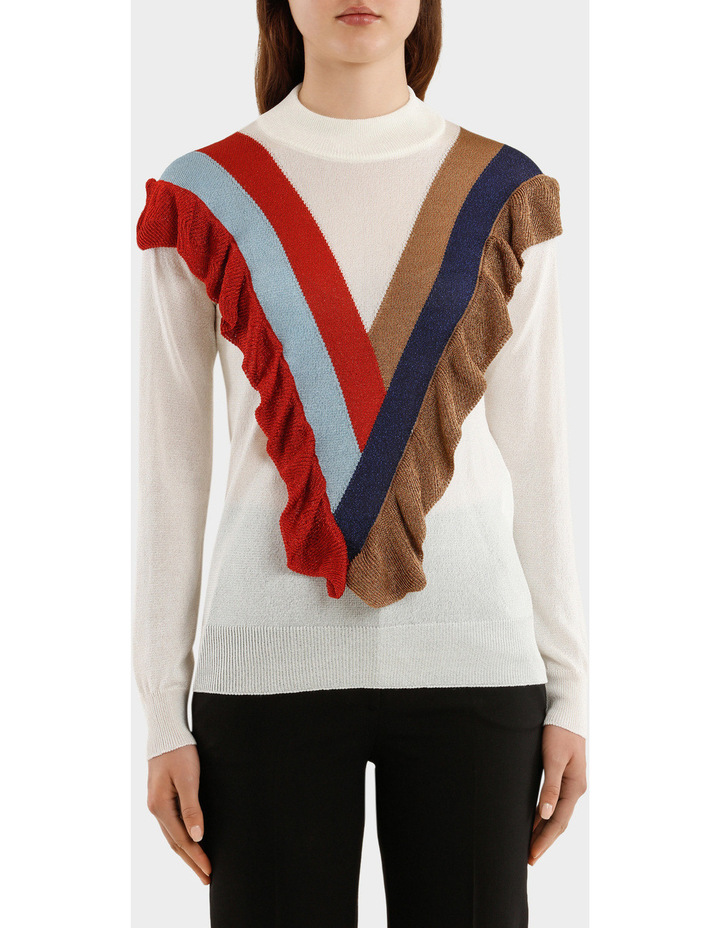 Knitted Lurex Turtleneck Sweater With Rouche image 1
