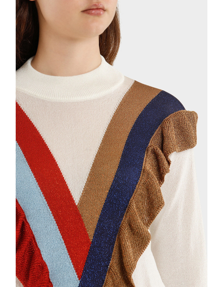 Knitted Lurex Turtleneck Sweater With Rouche image 4
