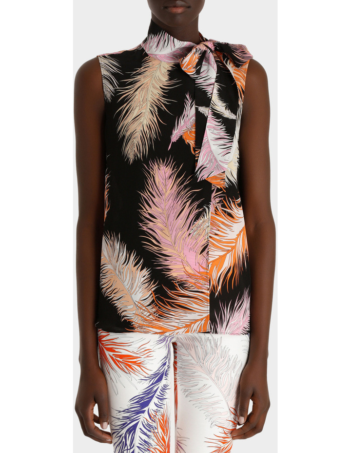 Feather Print Sleeveless Top Silk Gorgette image 1