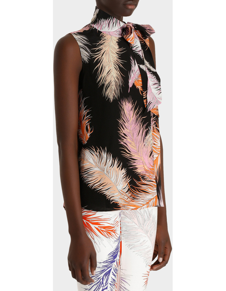 Feather Print Sleeveless Top Silk Gorgette image 2
