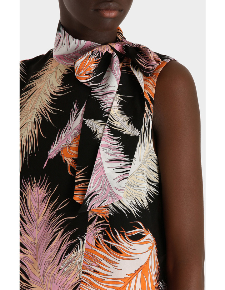Feather Print Sleeveless Top Silk Gorgette image 4