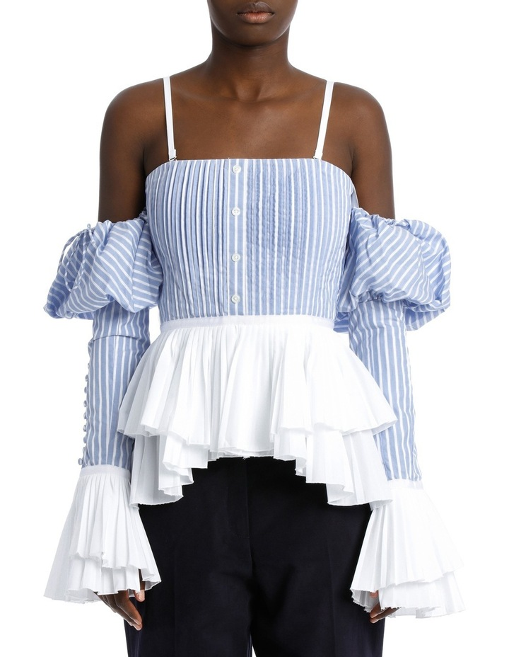 Pleated Oxford Bustier Top image 1