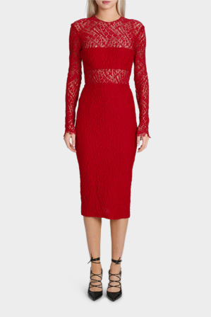 Alex Perry - Madalene French Lace Lady Sleeve Dress