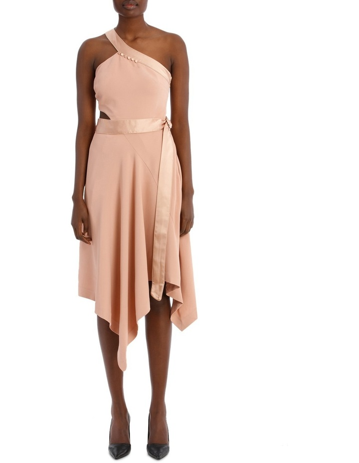 Deconstructed Satin Crepe Asymmetric Midi Dress image 1