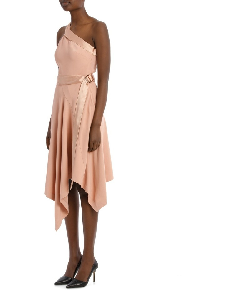 Deconstructed Satin Crepe Asymmetric Midi Dress image 2