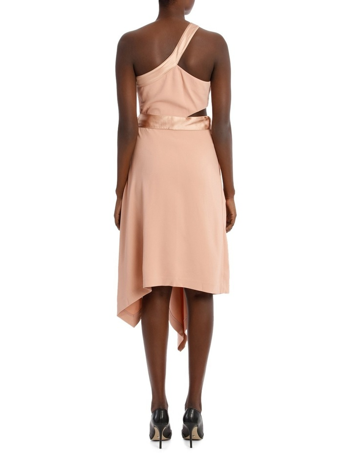 Deconstructed Satin Crepe Asymmetric Midi Dress image 3