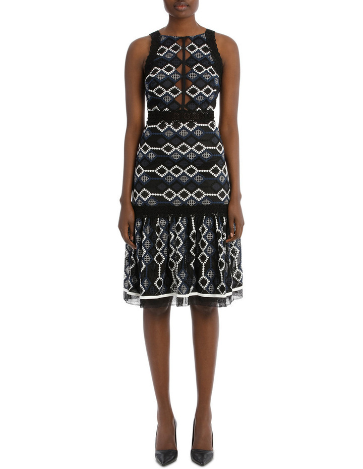 Multimedia Threaded Mesh Halter Midi Dress image 1