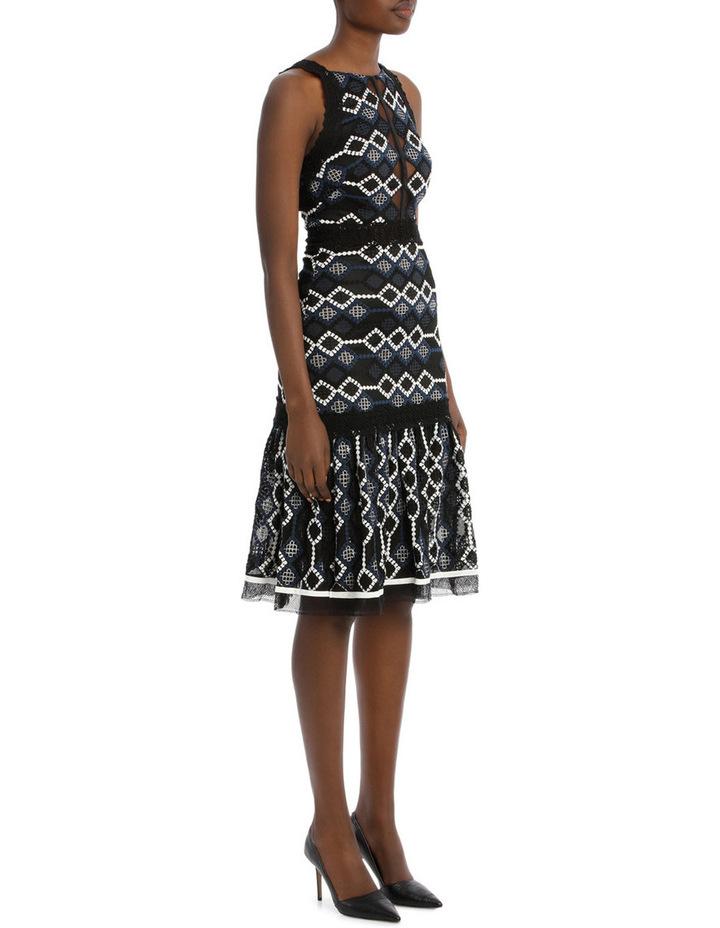 Multimedia Threaded Mesh Halter Midi Dress image 2