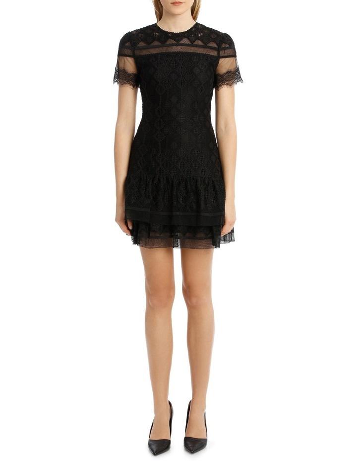 Multimedia Threaded Mesh Mini Ruffle Dress image 1