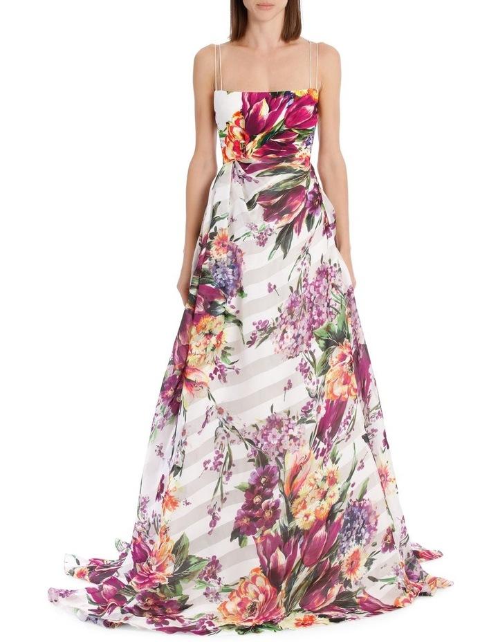 Camille Floral Crepe Portrait Silk Gown image 1