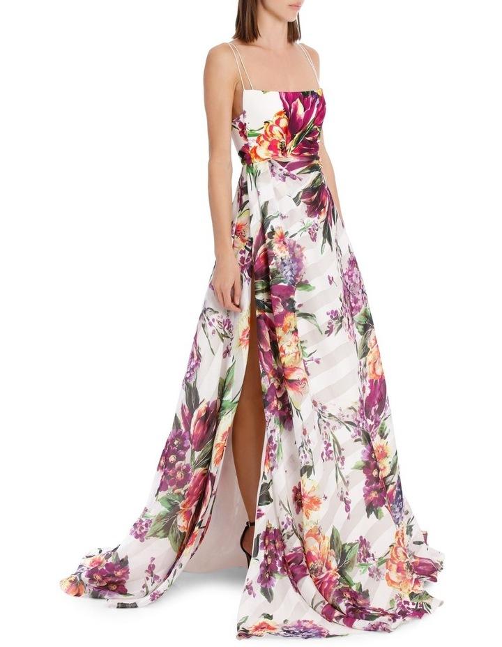 Camille Floral Crepe Portrait Silk Gown image 2