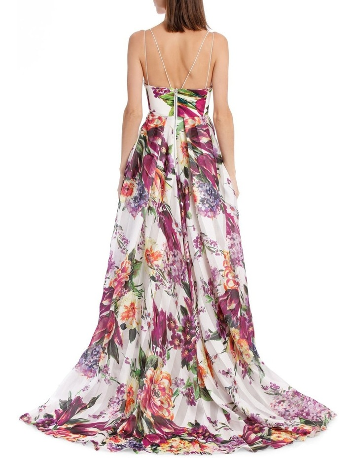 Camille Floral Crepe Portrait Silk Gown image 3