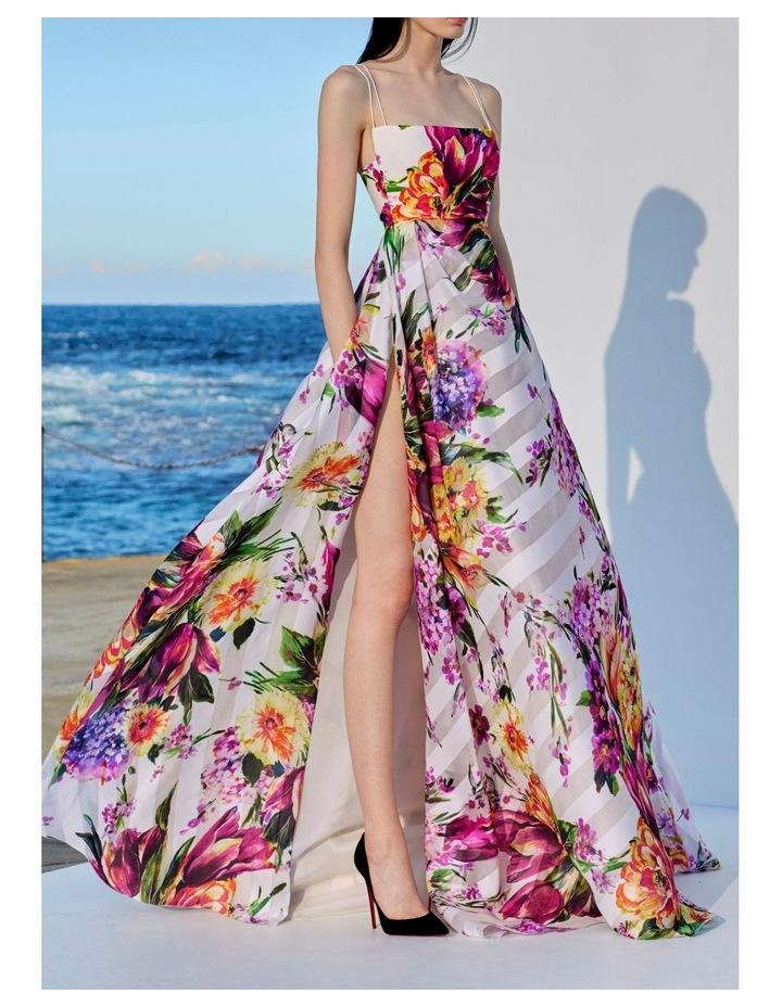 Camille Floral Crepe Portrait Silk Gown image 5