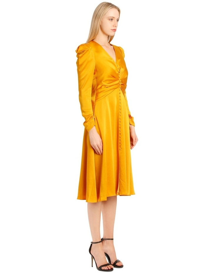 Rouched Front Sateen V-Neck Dress image 2