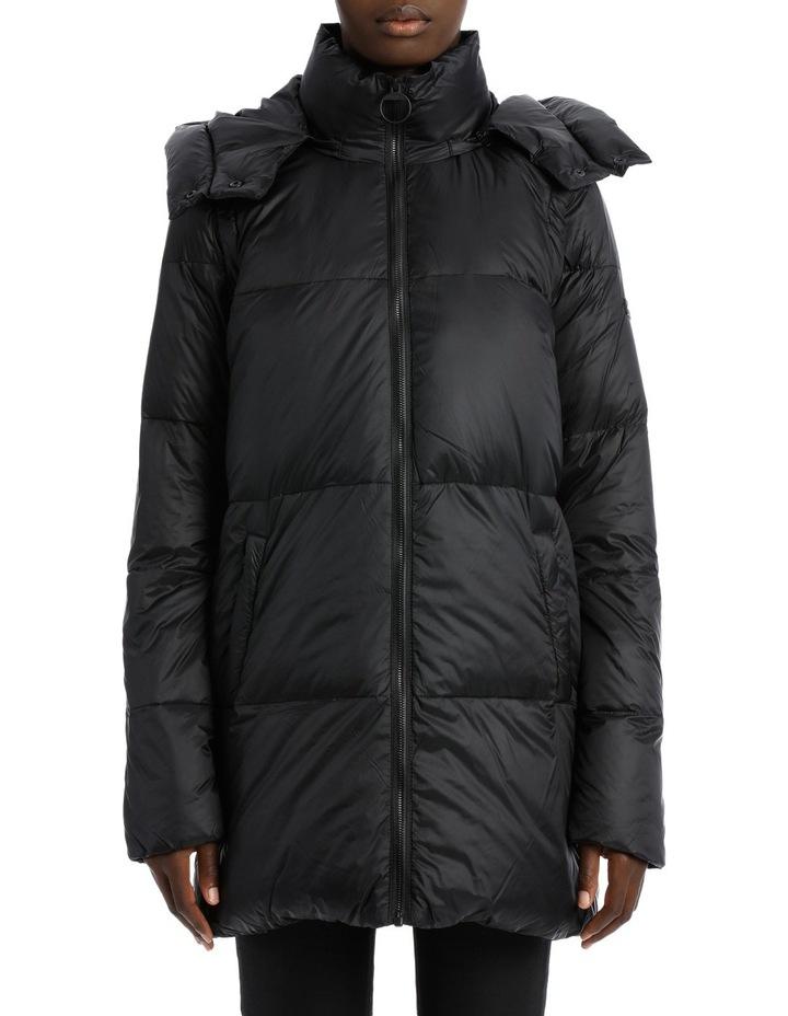 fd11c29be DKNY Long-Line Logo Down Jacket White/Detachable Hood