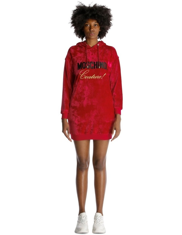 Embroidered Hoodie Dress in Velvet image 1