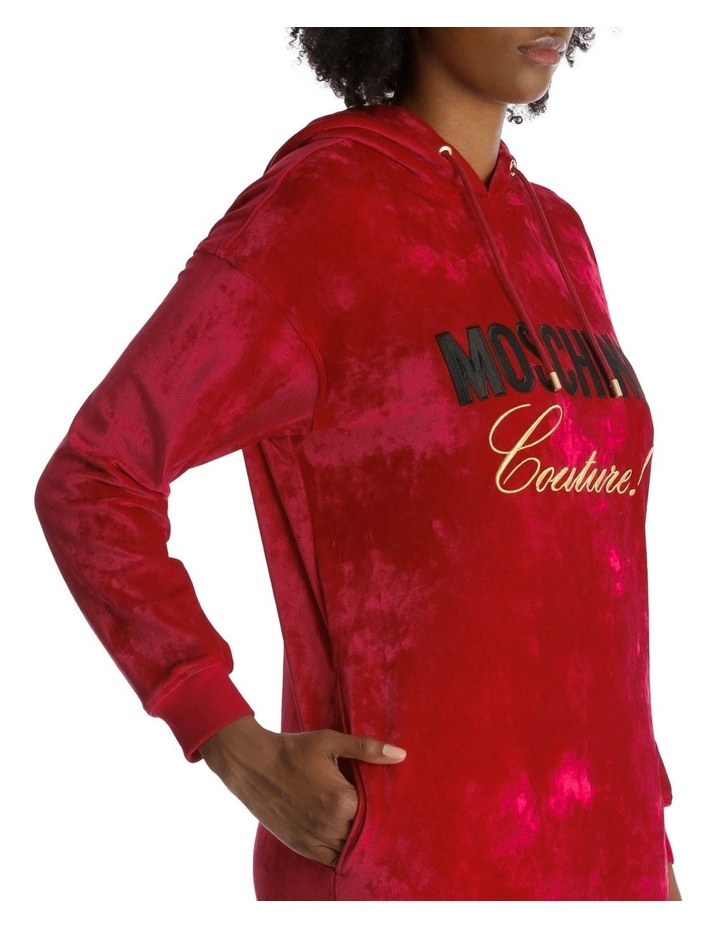 Embroidered Hoodie Dress in Velvet image 4