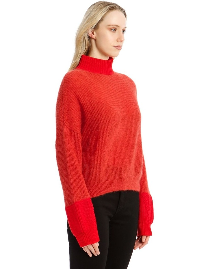 Trace Bi-Material Sweater - Red image 2