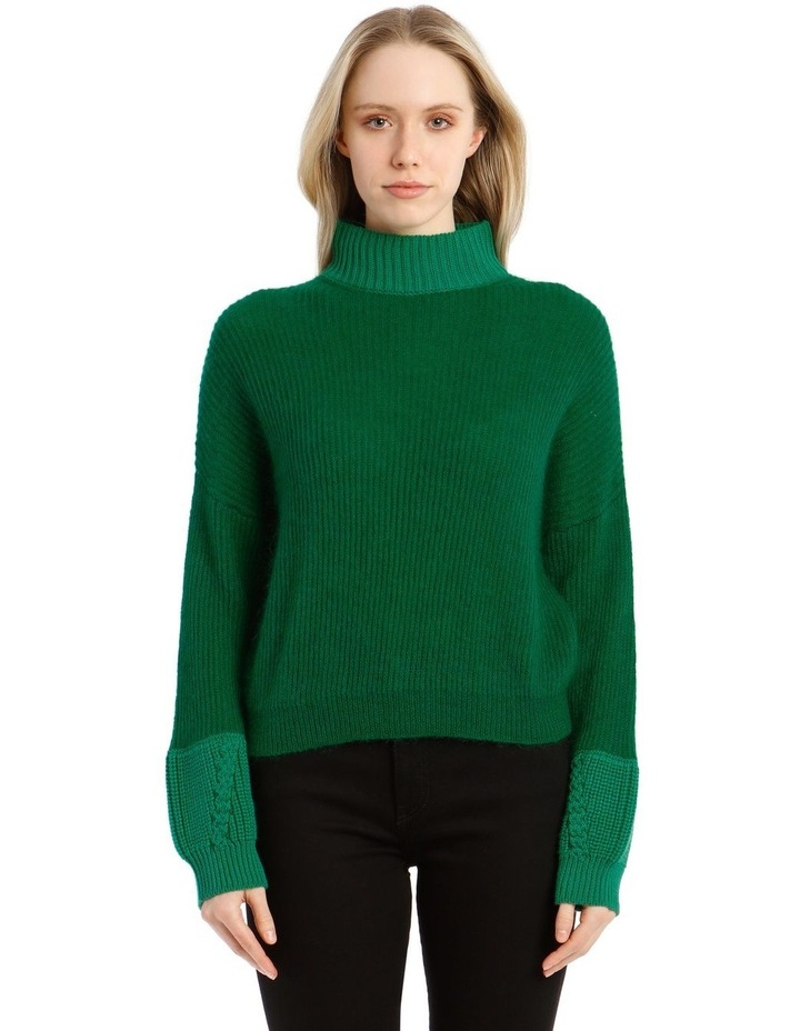 Trace Bi-Material Sweater - Green image 1