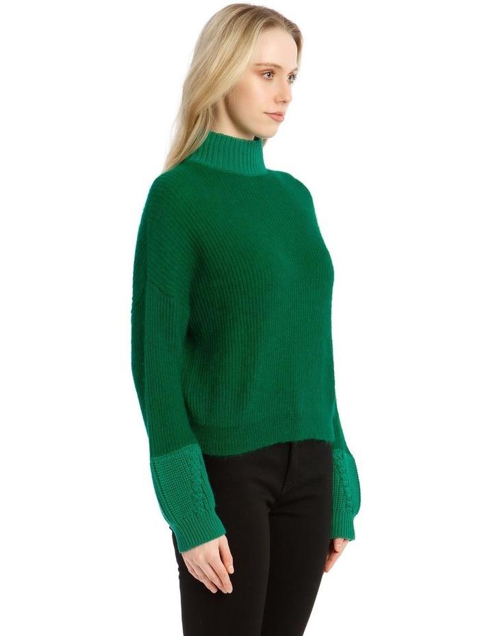 Trace Bi-Material Sweater - Green image 2