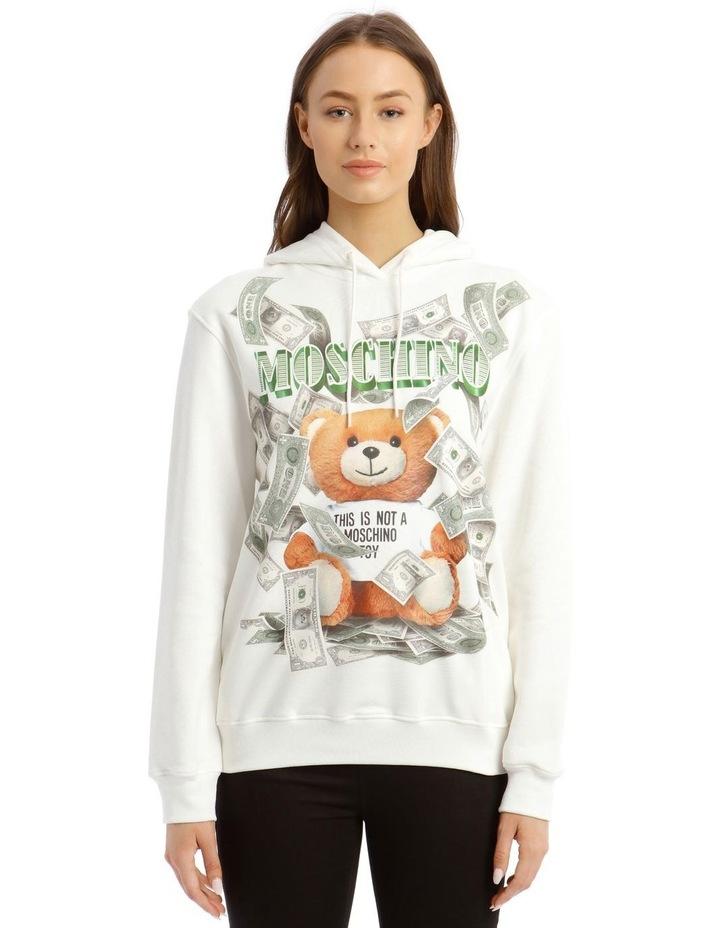 Dollar Teddy Bear Cotton Sweatshirt in White image 1