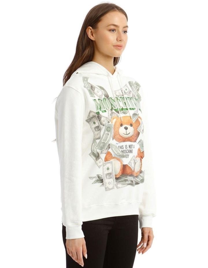 Dollar Teddy Bear Cotton Sweatshirt in White image 2