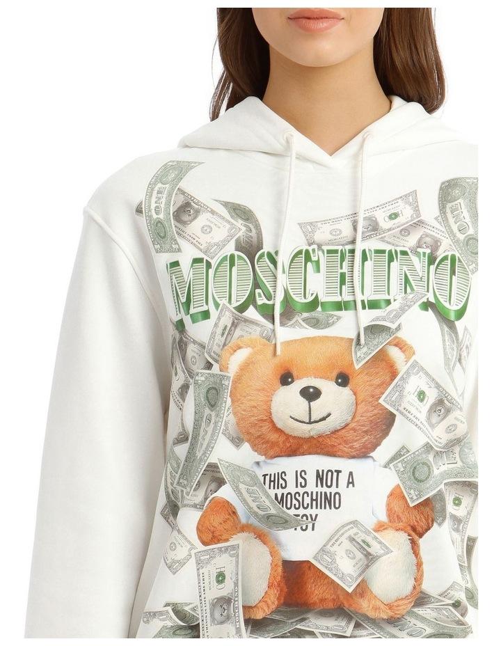 Dollar Teddy Bear Cotton Sweatshirt in White image 4