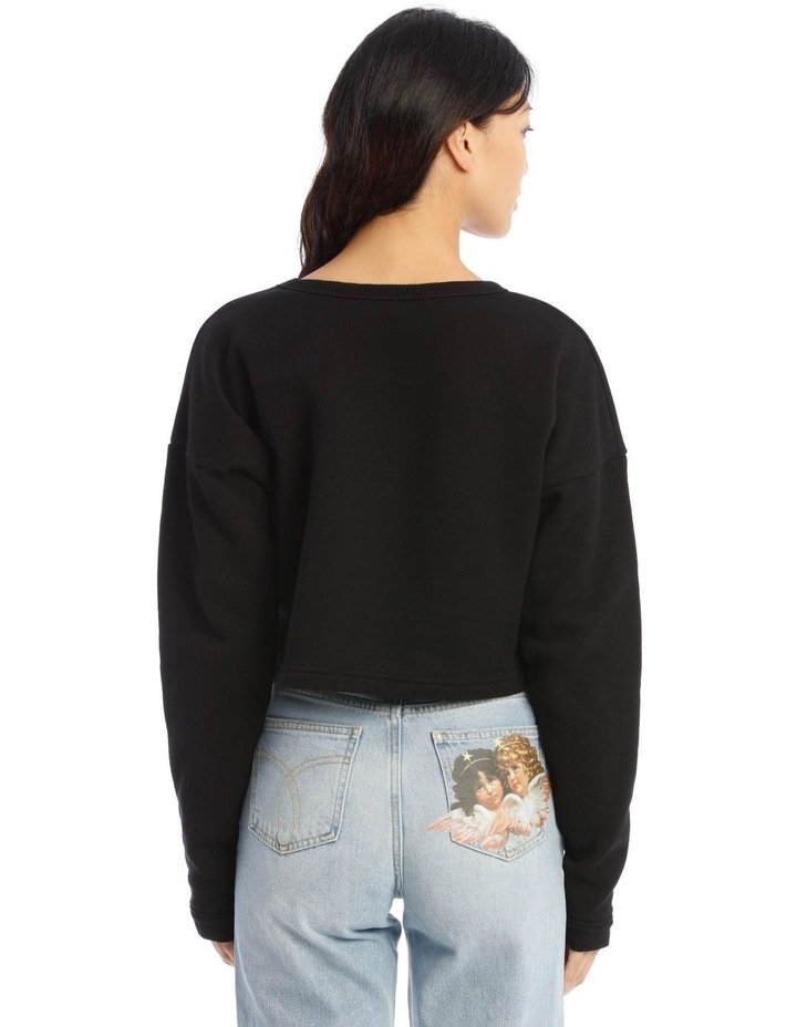 Vintage Angels Cropped Sweater in Black image 3