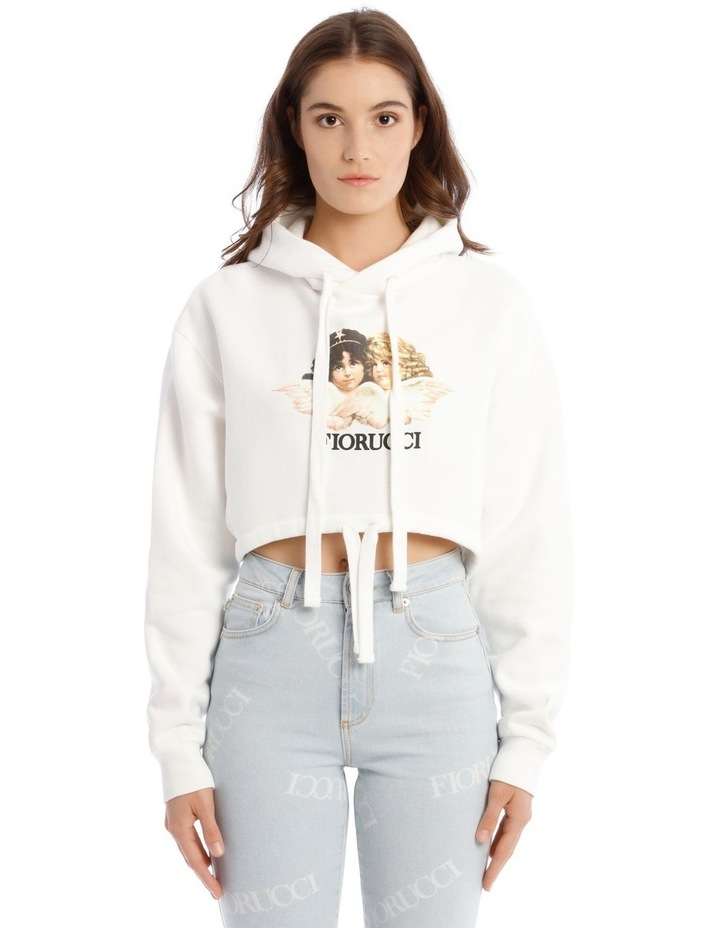Angels Crop Hoodie in White image 1