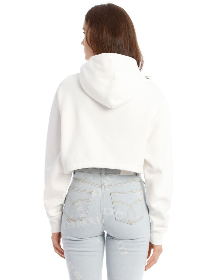 Angels Crop Hoodie in White image 3