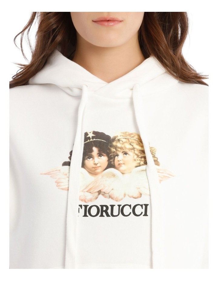 Angels Crop Hoodie in White image 4