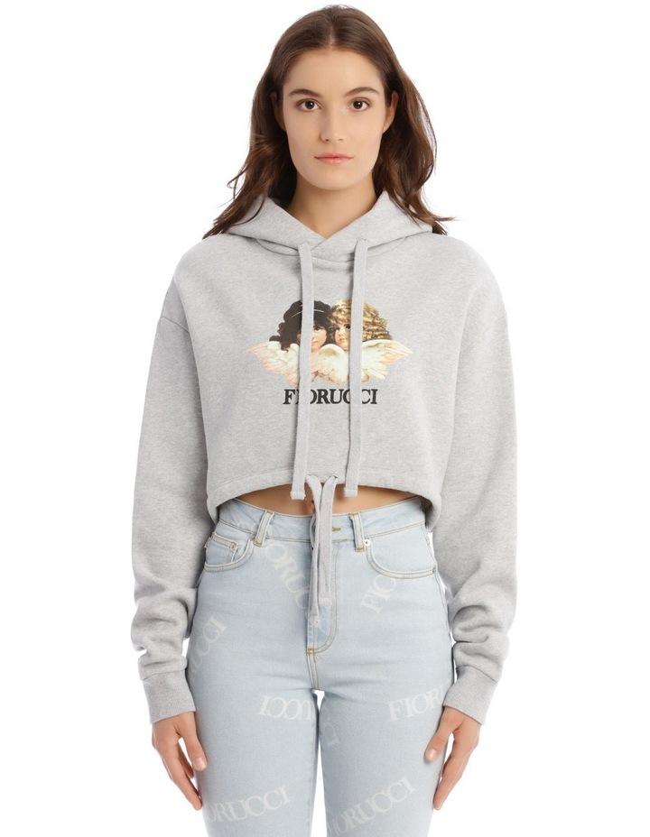 Angels Crop Hoodie in Grey image 1